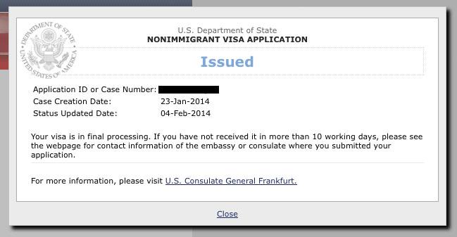 Nonimmigrant visa application status